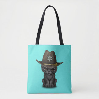 Cute Baby Black Panther Cub Sheriff Tote Bag