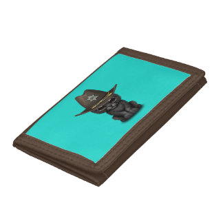 Cute Baby Black Panther Cub Sheriff Tri-fold Wallet