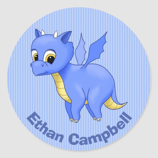 Cute Baby Blue Dragon Classic Round Sticker