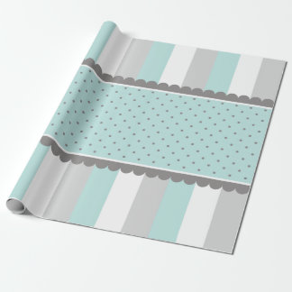 Cute Baby Blue & Gray Stripes and Polka Dots Wrapping Paper
