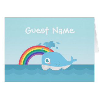Cute Baby Blue Whale and Rainbow Guest Name Card