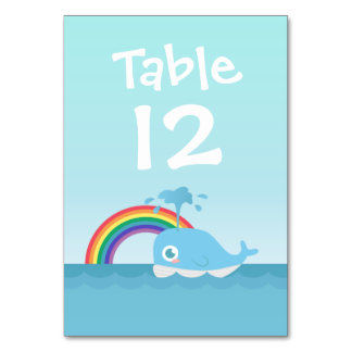 Cute Baby Blue Whale and Rainbow Table Number Card
