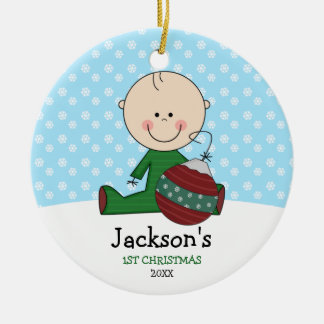 Cute Baby Boy 1st Christmas Personalized Round Ceramic Ornament