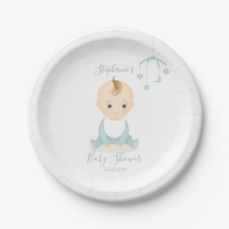 Cute Baby Boy and his Mobile Baby Shower Paper Plate