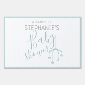 Cute Baby Boy and his Mobile Baby Shower Sign