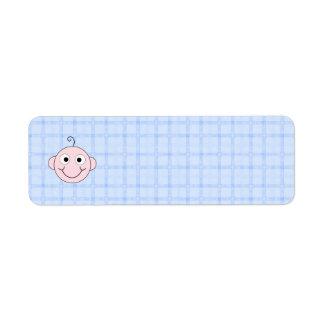 Cute Baby Boy. Blue Check Background.