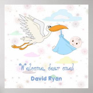 Cute Baby Boy carried by a Stork Custom Monogram Poster