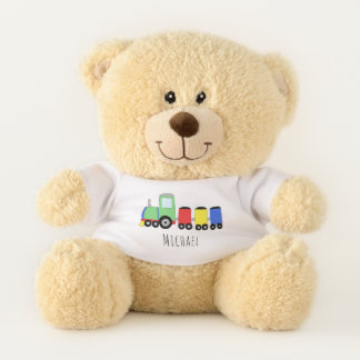 Cute Baby Boy Doodle Colorful Train with Name Teddy Bear