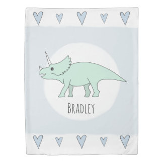 Cute Baby Boy Doodle Dinosaur with Name Nursery Duvet Cover