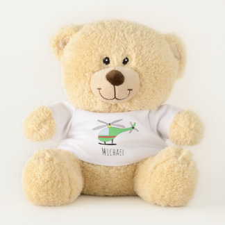 Cute Baby Boy Doodle Helicopter with Name Teddy Bear