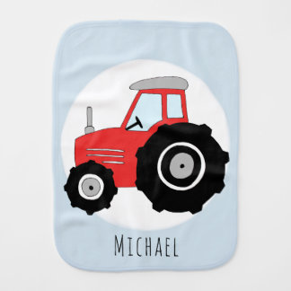 Cute Baby Boy Doodle Red Farm Tractor with Name Burp Cloth
