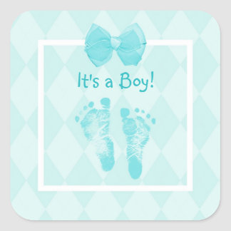 Cute Baby Boy Footprints Baby Shower Blue Ribbon Square Sticker