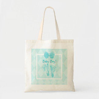 Cute Baby Boy Footprints Blue Ribbon
