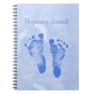 Cute Baby Boy Footprints Pregnancy Journal