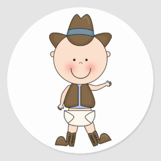 Cute Baby Boy & Horse Pony Custom Western Classic Round Sticker