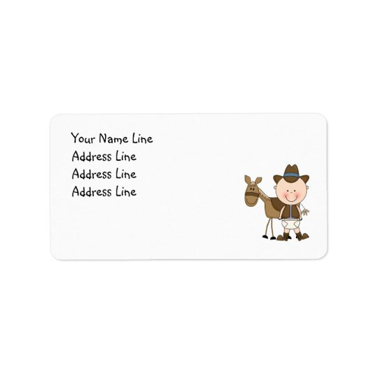 Cute Baby Boy & Horse Pony Custom Western Label