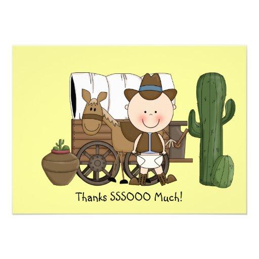 Cute baby boy horse pony western thank you custom invitations at