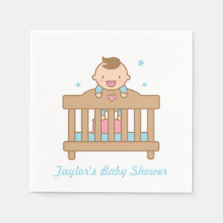 Cute Baby Boy in Cot Baby Shower Party Supplies Paper Napkins