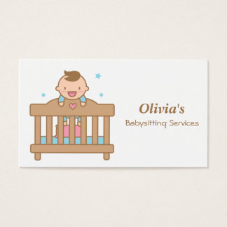 Cute Baby Boy in Cot Babysitting Business Cards