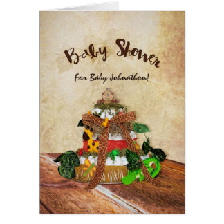 Cute Baby Boy Jungle Diaper Cake Baby Shower Card