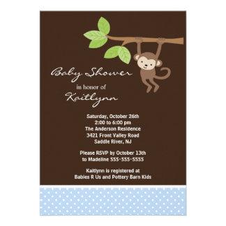 Cute Baby Boy Monkey Safari Baby Shower Invitation