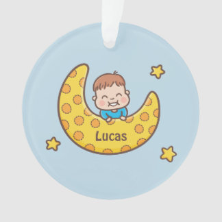 Cute Baby Boy on the Moon Blue Ornament with Name