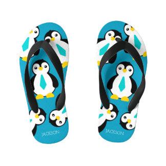 Cute Baby Boy Penguins with Blue Neckties Kid's Flip Flops