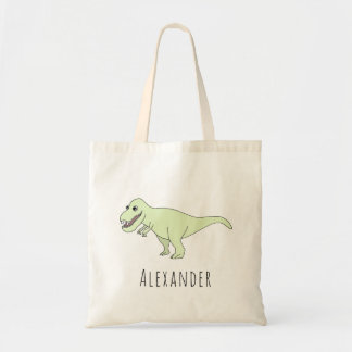 Cute Baby Boy T-Rex Dinosaur with Name Diaper Tote Bag
