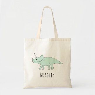 Cute Baby Boy Triceraptops Dinosaur Name Diaper Tote Bag