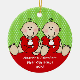 Cute Baby Boy Twin s First Christmas Ornament