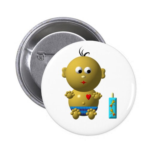 Cute baby boy with heart pinback button