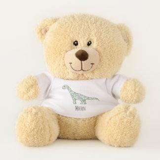 Cute Baby Boy's Doodle Dinosaur with Name Teddy Bear