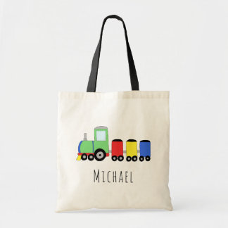 Cute Baby Boy's Locomotive Train and Name Tote Bag