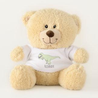 Cute Baby Boy's T-Rex Doodle Dinosaur with Name Teddy Bear