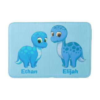 Cute Baby Brother Blue Dinosaurs Bath Mat