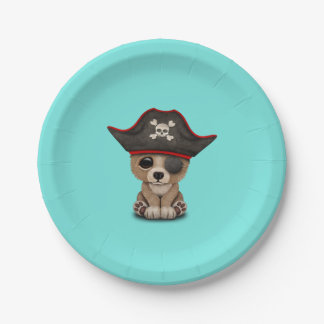 Cute Baby Brown Bear Cub Pirate 7 Inch Paper Plate