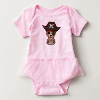 Cute Baby Brown Bear Cub Pirate Baby Bodysuit