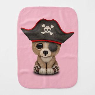 Cute Baby Brown Bear Cub Pirate Burp Cloth