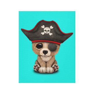 Cute Baby Brown Bear Cub Pirate Canvas Print