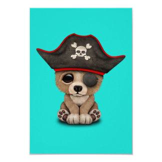 Cute Baby Brown Bear Cub Pirate Card