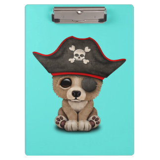 Cute Baby Brown Bear Cub Pirate Clipboard