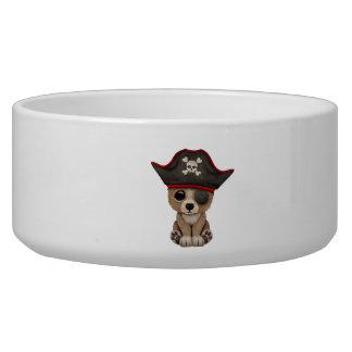 Cute Baby Brown Bear Cub Pirate Dog Bowls
