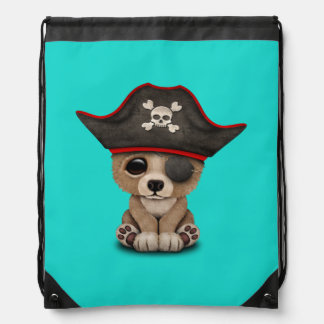 Cute Baby Brown Bear Cub Pirate Drawstring Bag