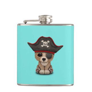 Cute Baby Brown Bear Cub Pirate Hip Flask