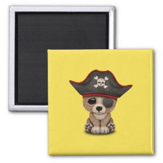 Cute Baby Brown Bear Cub Pirate Magnet