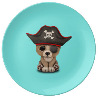 Cute Baby Brown Bear Cub Pirate Porcelain Plate