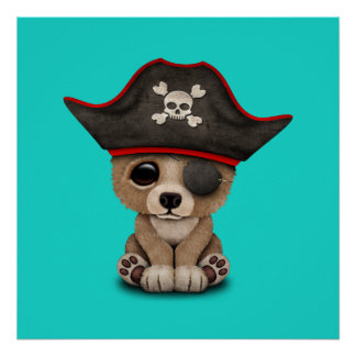 Cute Baby Brown Bear Cub Pirate Poster