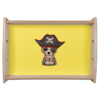 Cute Baby Brown Bear Cub Pirate Serving Tray