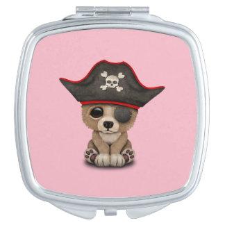 Cute Baby Brown Bear Cub Pirate Travel Mirrors