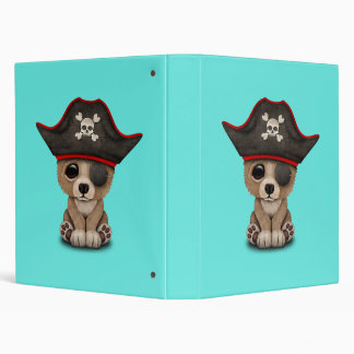 Cute Baby Brown Bear Cub Pirate Vinyl Binder